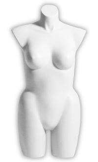 "Full Round ""Plus Size"" Three-Quarter Ladies Torso Form in Cameo White"