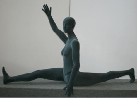 Female Flexible Mannequin doing the Splits in Grey